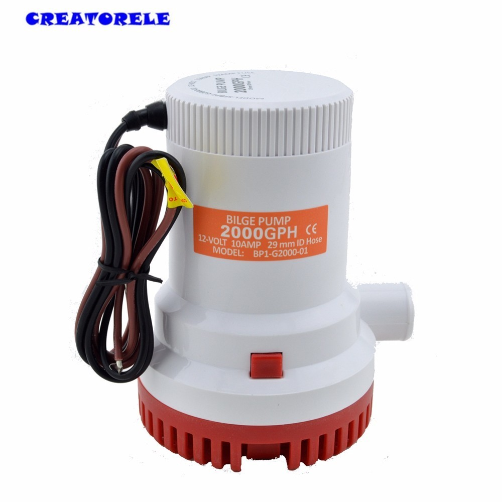 Big flow GPH water bilge pump submersible High flow submersible Marine  Electric H1E1  transfer  2000GPH 12V 51mm dc 12v water oil diesel fuel transfer pump submersible pump scar camping fishing submersible switch stainless steel
