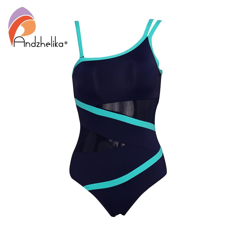 Andzhelika Sexy One Shoulder One Piece Swimsuit 2019 New Off Shoulder Mesh Patchwork Swimwear Bodysuit Bathing Suit Monokini