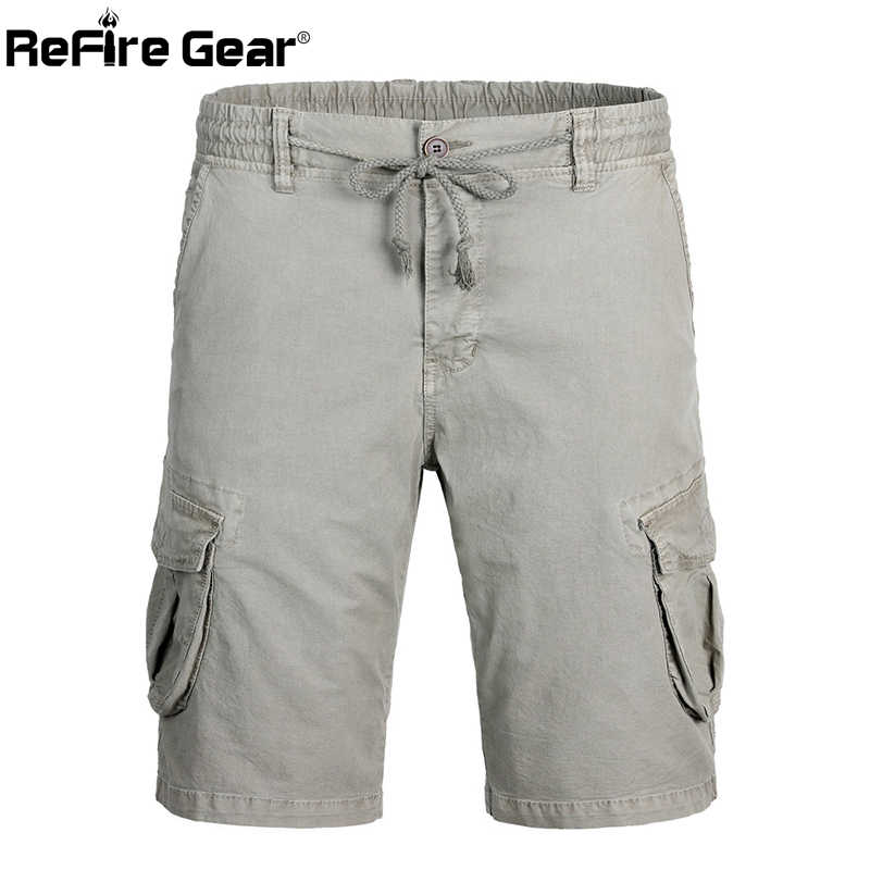 Pantalones cortos de combate del ejército del engranaje de ReFire hombres SWAT estilo militar táctico trabajo Cargo pantalones cortos Casual de algodón cintura elástica pantalones cortos