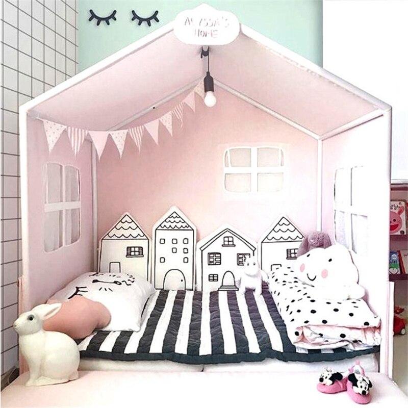 Lit bébé pare-chocs nouveau-nés nordiques INS petite maison coussin de lit protecteur bébé lit autour des oreillers bébé chambre décor 4 pièces