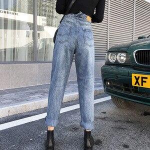2019 Spring Summer Women Mom Jeans High Waist All-match Loose Harajuku Student Jeans High waist Denim Pant