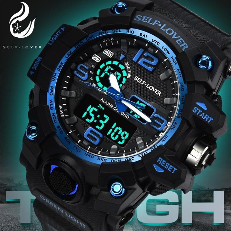 Men Sports Watches Dual Display Analog Digital LED Electronic Quartz Wristwatches Waterproof Swimming Military Watch