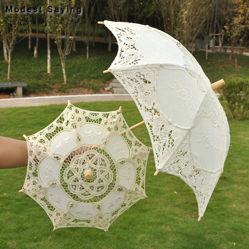 Us 23 85 10 Off Vintage Small Beige Lace Wedding Umbrella Princess Embroidery Victorian Parasols Wedding Showers Decorations Ombrelle Mariage In