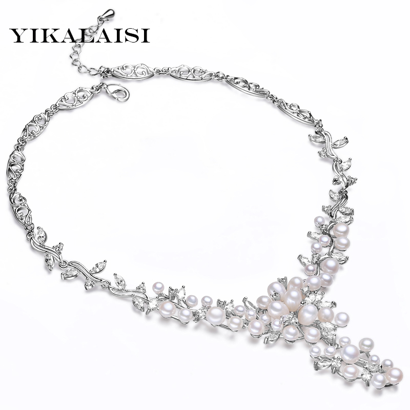 YIKALAISI 2017 100%Natural Pearl Necklace Unique Design 4 5/6 7/7 8 MM Natural Freshwater Pearl Jewelry For Women Best Gifts