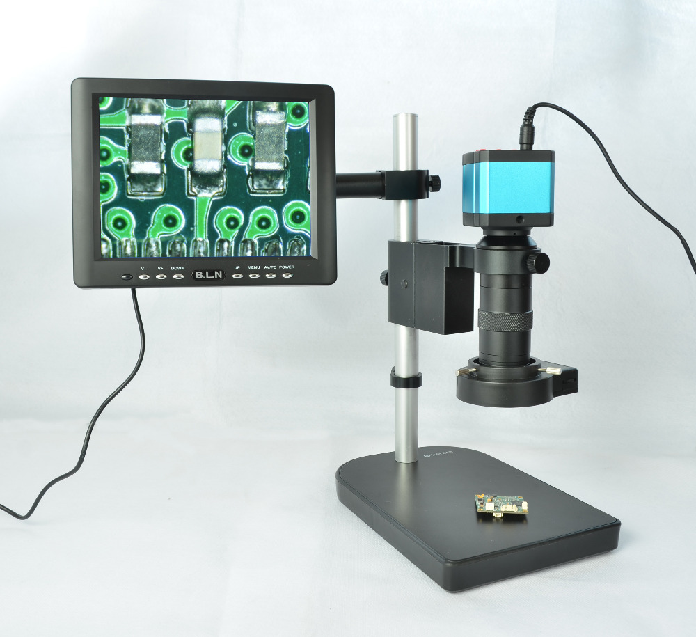 14MP HDMI USB Industrial Microscope Camera Outputs + 100X C-mount Lens + 40 LED Light + 8 HD LCD Monitor Microscopes Camera