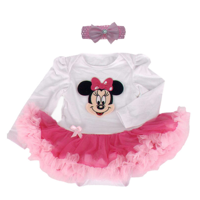 f190f1af1 Newborn Baby Girl Clothes Mickey Minnie Mouse Lace Tutu Dress 2PCS Children  Clothing Sets Headband Infant Outfit Party Costume