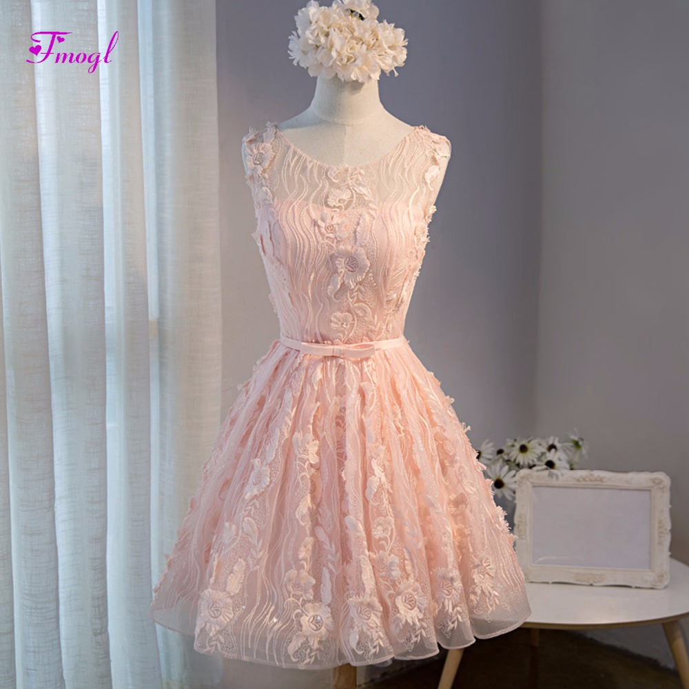 Fmogl Graceful Scoop Neck Sleeveless Pink Lace   Cocktail     Dresses   2019 Fashion Sashes Graduation Dressses Short Prom Party Gown