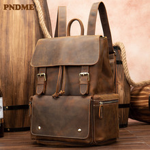 PNDME vintage crazy horse leather men women bookbags waterproof anti-theft genuine brown 14 inch laptop travel backpack