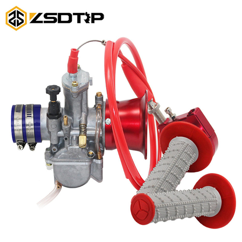 ZSDTRP Motorcycle PWK Carburetor Set 21 24 26 28 30 32 34mm With Throttle Grips Hand Grips Wind Cup Rubber Adapter Scooter ATV