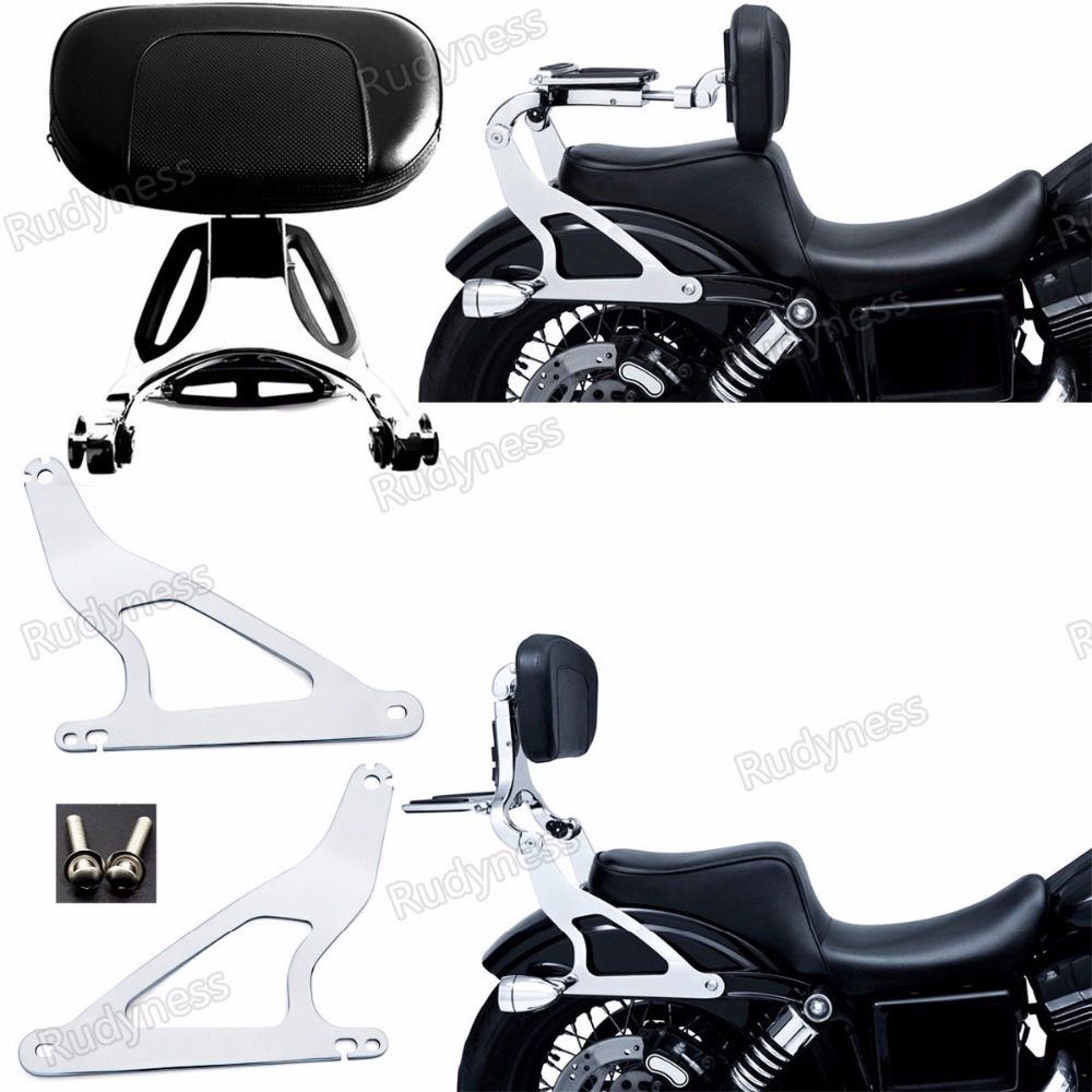 Chrome Fixed Mount&Multi Purpose Adjustable Driver Passenger Backrest For Harley 06-17 Dyna Models new fixed mount