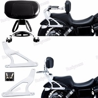 Chrome Fixed Mount&Multi Purpose Adjustable Driver Passenger Backrest For Harley 06 17 Dyna Models