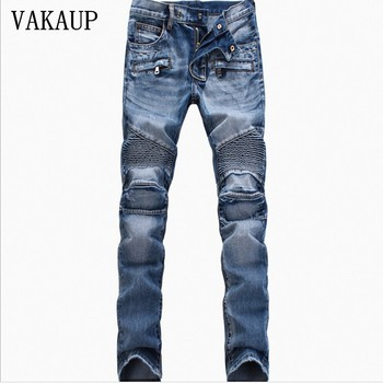 Mens balmai Jeans Homme Designer Biker Clothes Denim Pants Distressed Motorcycle Joggers Slim Fit Ripped Jeans Trousers Pant Men 2016 new arrived men s biker jeans bule casual slim distressed denim hiphop pant for male hots jean designer skinny trousers