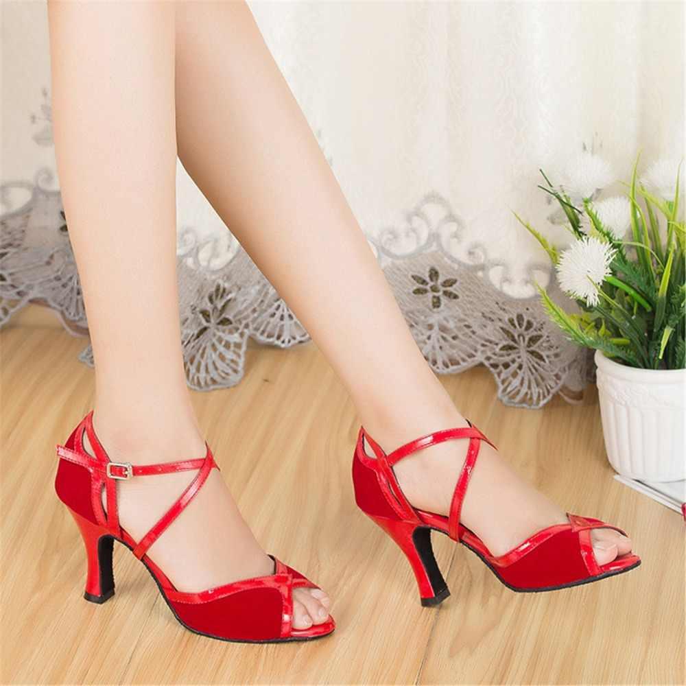 Akın Kırmızı Siyah Salsa Ayakkabı Bayanlar Latin Dans Ayakkabıları Kadın Balo Salonu Dans Ayakkabıları Kızlar Düğün Peep Toe Özelleştirilmiş Topuklar JYG528
