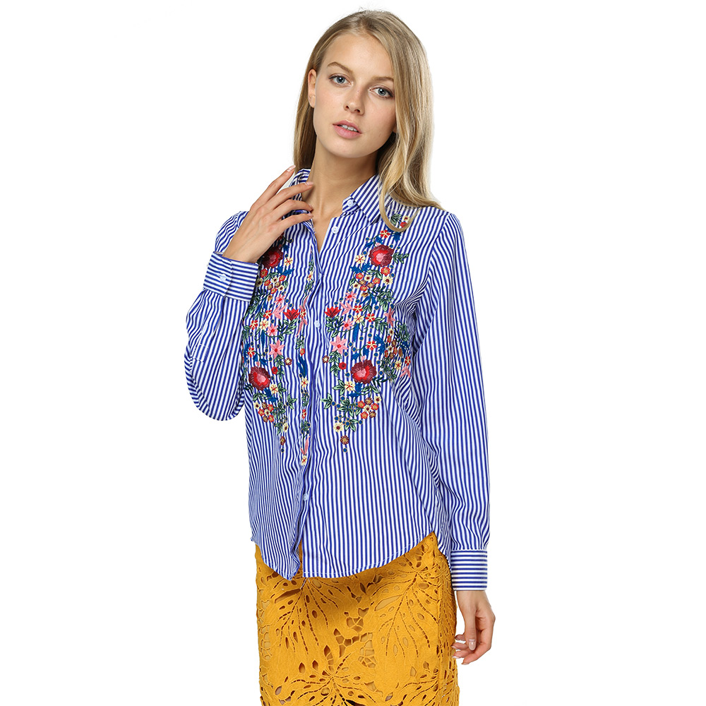 VESTLINDA Women Blouses 2017 Casual Floral Embroidered Shirt Long Sleeve Turn Down Collar Tops Striped Blusas Femme Loose Blouse 12