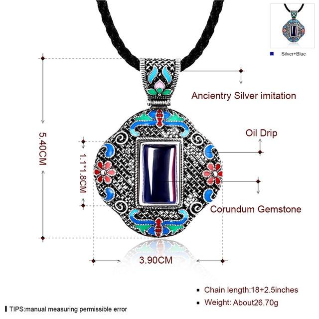 LKO 5A Cloisonne Antique Silver Jewelry Upscale Bohemia Royal Pendant Long Necklace Vintage Ethnic Elegant Accessory For Women