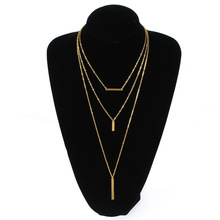 New Fashion Multilayer Pendant Chain Necklace Metal Stick Alloy Long Tassel Choker Necklace Jewelry black metal chain fringe choker necklace