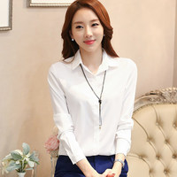 2016 Spring White Women Blouses Long Sleeve Plus Size Ladies Office Shirts Fashion Autumn Casual Design