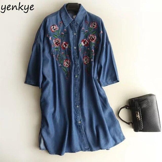 b750c23bcd3 Spring 2018 Women Floral Embroidery Tencel Denim Dress Lady Short Sleeve  Lapel Blue Casual Dress Summer Oversized Dress