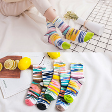 Funny colorful socks women sweet ladies sock candy color cotton striped womens Girl breathable college spring