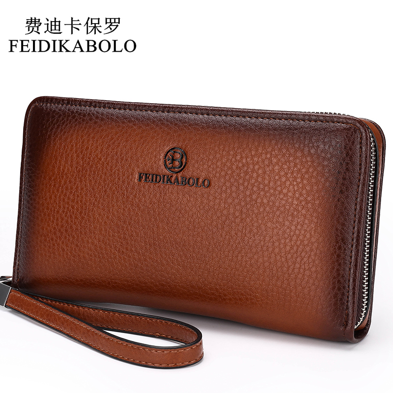 2019 Luxury Male Leather Purse Men's Clutch Wallets Handy Bags Business Carteras Mujer Wallets Men Black Brown Dollar Price(China)