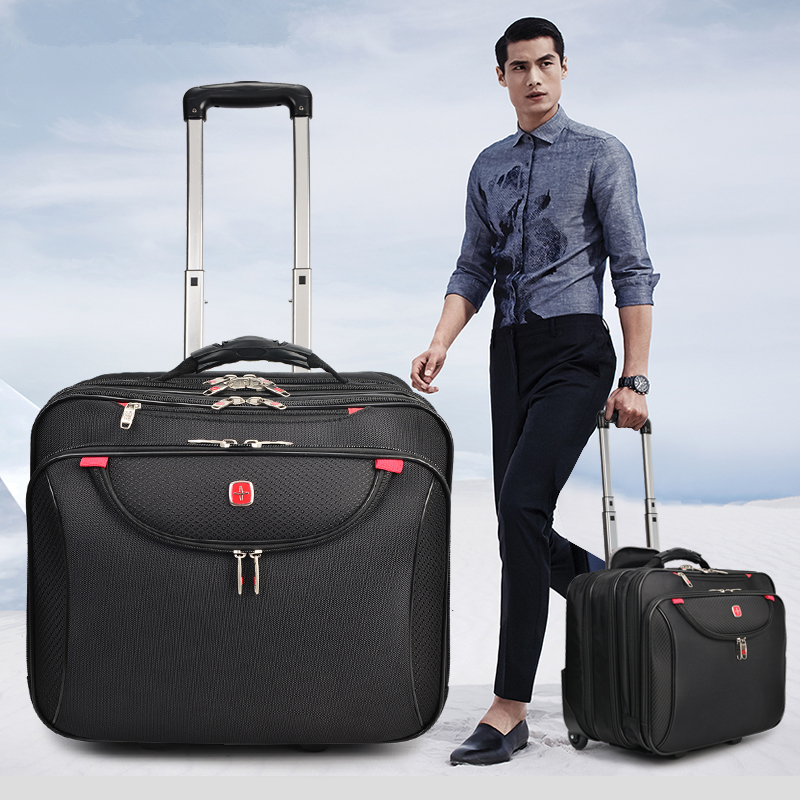 Fixed-Caster Trolley Luggage Swiss 16inches Businessman Men For Computer On Waterproof