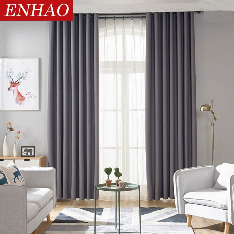 Us 12 53 68 Off Enhao Modern Blackout Curtains For Window Curtains For Living Room The Bedroom Kitchen Window Treatments Finished Drapes 1 Panel In