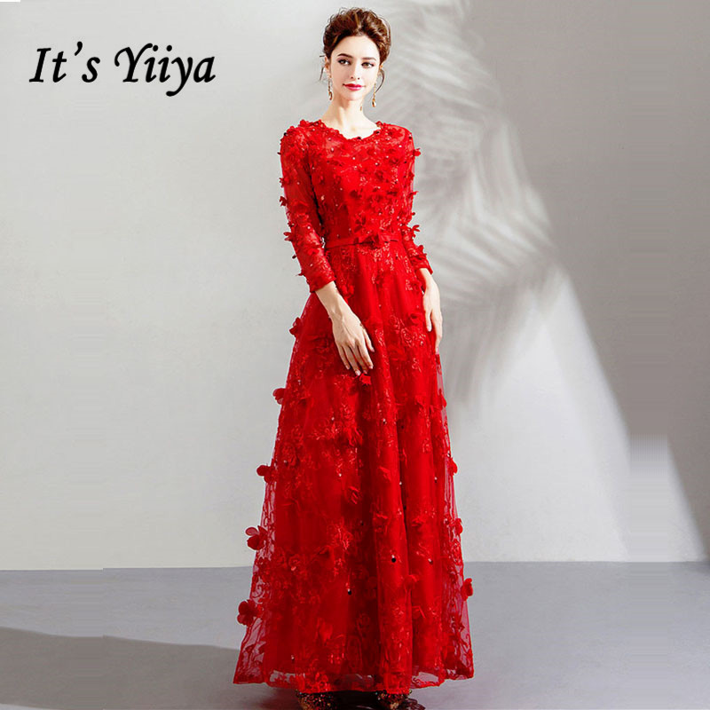 It's YiiYa   Prom     Dresses   2018 Red Floral O-neck Three Quater Sleeves A-line Floor-length Plus size LX1157 vestido formatura