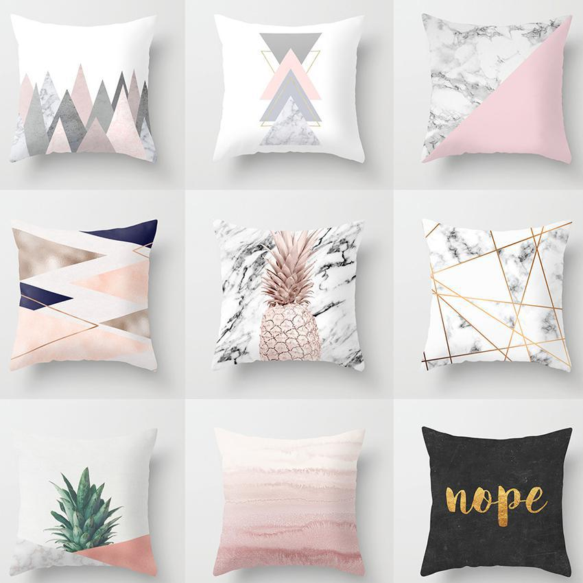 Marble Decoration: Home Decoration Nordic Style Pink Geometric Cushion Marble
