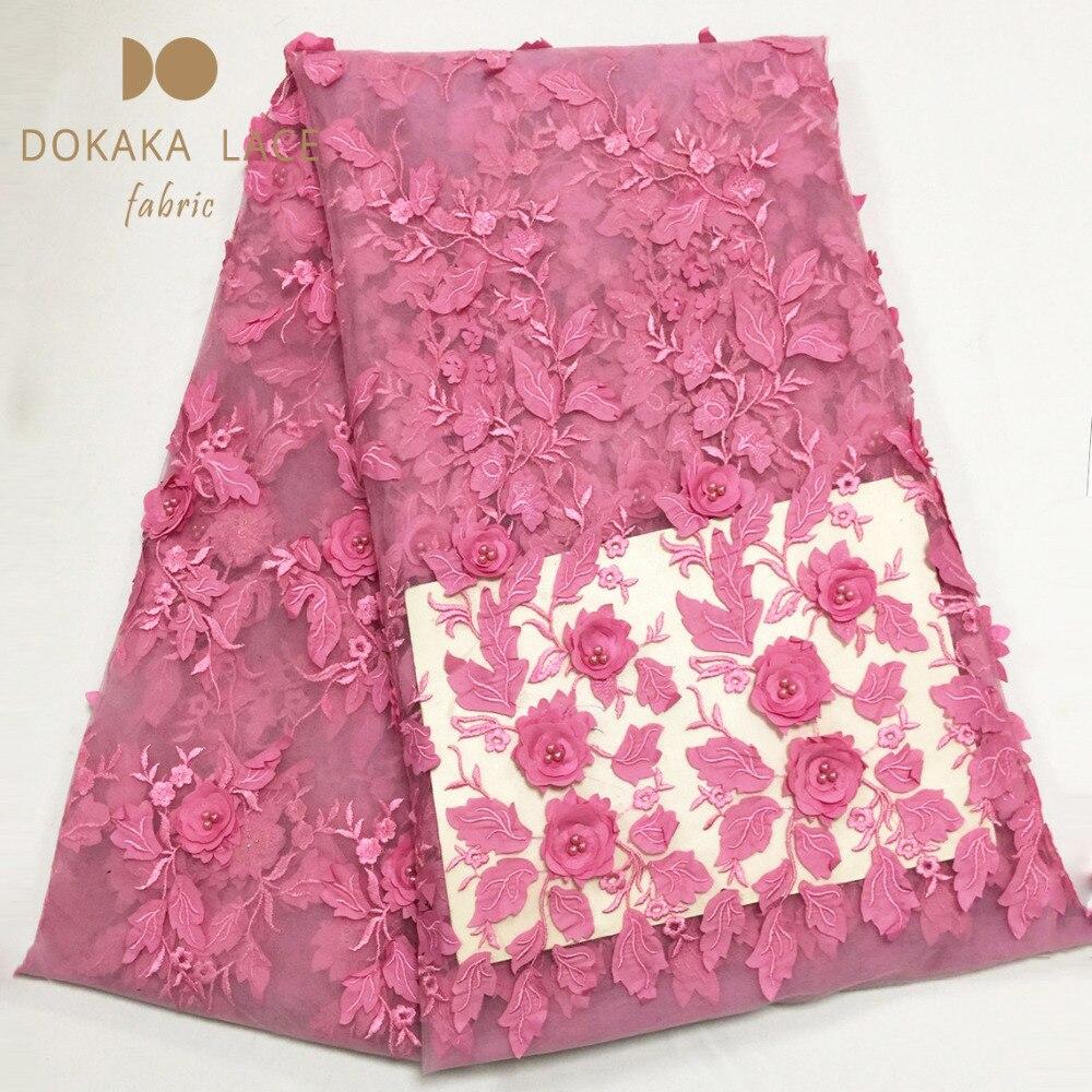 Tela de encaje de red francesa africana de flores 3D de Color rosa con cuentas de estilo Noble aplique de malla de guipur tul para fiesta de boda con cuentas de encaje-in encaje from Hogar y Mascotas    3