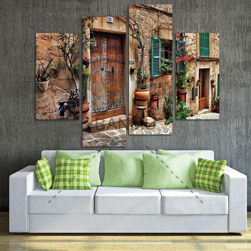 4 Panel Wandkunst Straßen Von Old Mittelmeer Städten Blume Tür Windows Malerei Auf Leinwand Architektur Bilder Für Wohnkultur