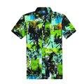 Estampado floral corto Seeve Camisa Para Hombre Camisa Social Camisa Hawaiana Hombres Chemise Homme Diseñador de la Marca de Ropa de Alta Calidad