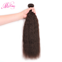 Ms Love Kinky Straight Hair Bundles 1 Piece #2 Brown Brazilian Human Hair Weaving Non Remy 100 Gram Hair Extentions