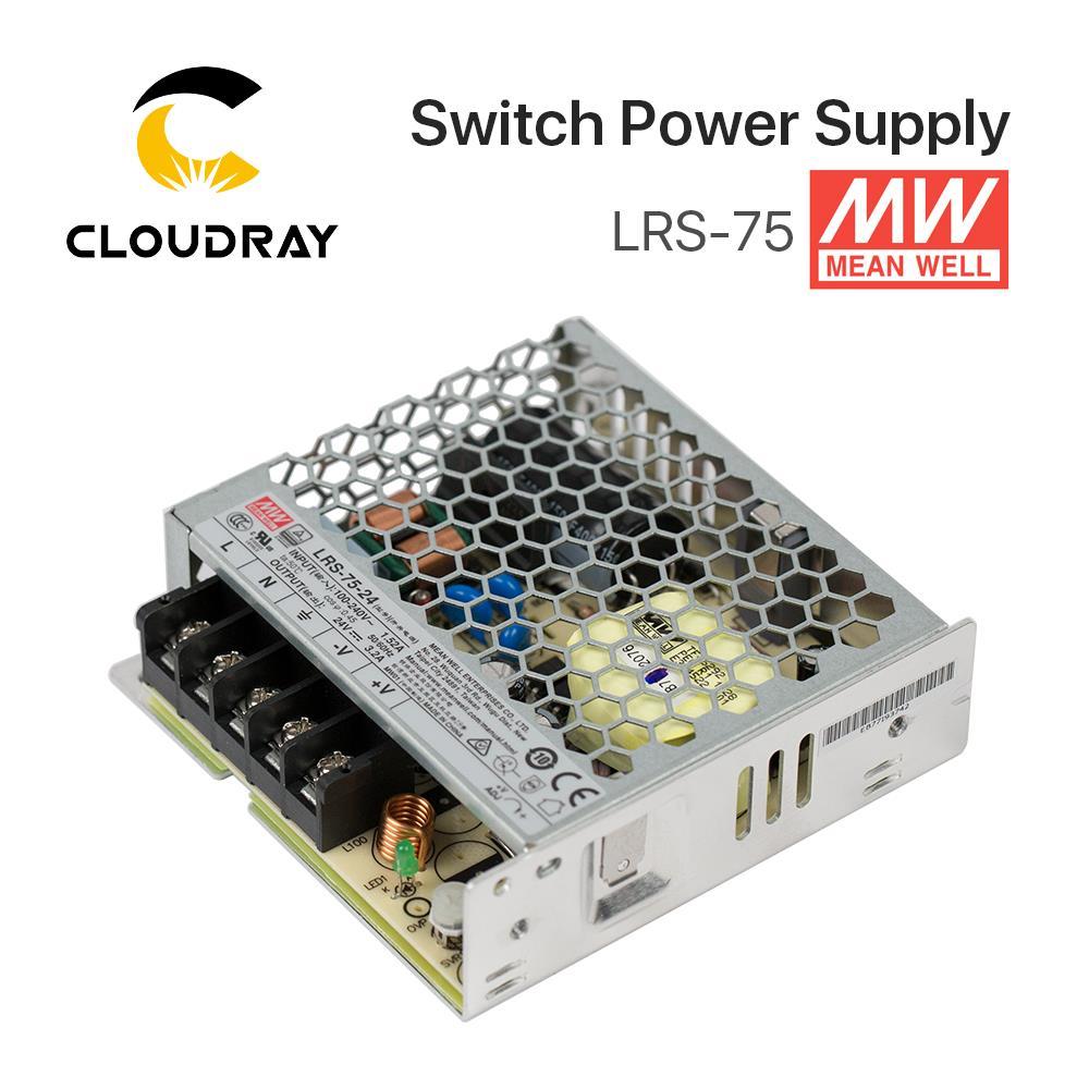 Meanwell LRS-75-alimentation électrique à découpage, 75W, 12V, 6a/24V, 3,2 a, MW, pour contrôleur Laser, taïwan