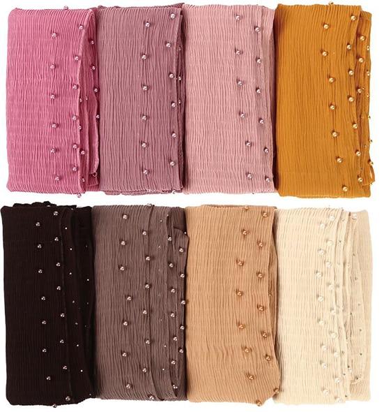 10pc Chiffon Wrinkle Scarf Pearl Edges Shawl Plain Maxi Ripple Hijab Long Pashmina Muffler Muslim Scarf Fashion Scarves 21colors