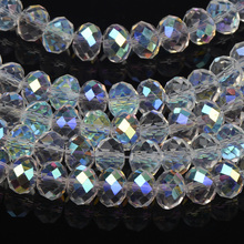 Glittering white AB Colourful crystal beads Flat bead supply 4MM 6MM 8MM 10MM 12MM 14MM 16MM glass rondelles