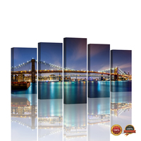 5 Panels Poster Brooklyn Bridge Wall Paper New York Night View LED light Giclee Canvas Prints Landscape Pictures for Home Decor