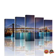 5 Panels Poster Brooklyn Bridge Wall Paper New York Night View LED light Giclee Canvas Prints