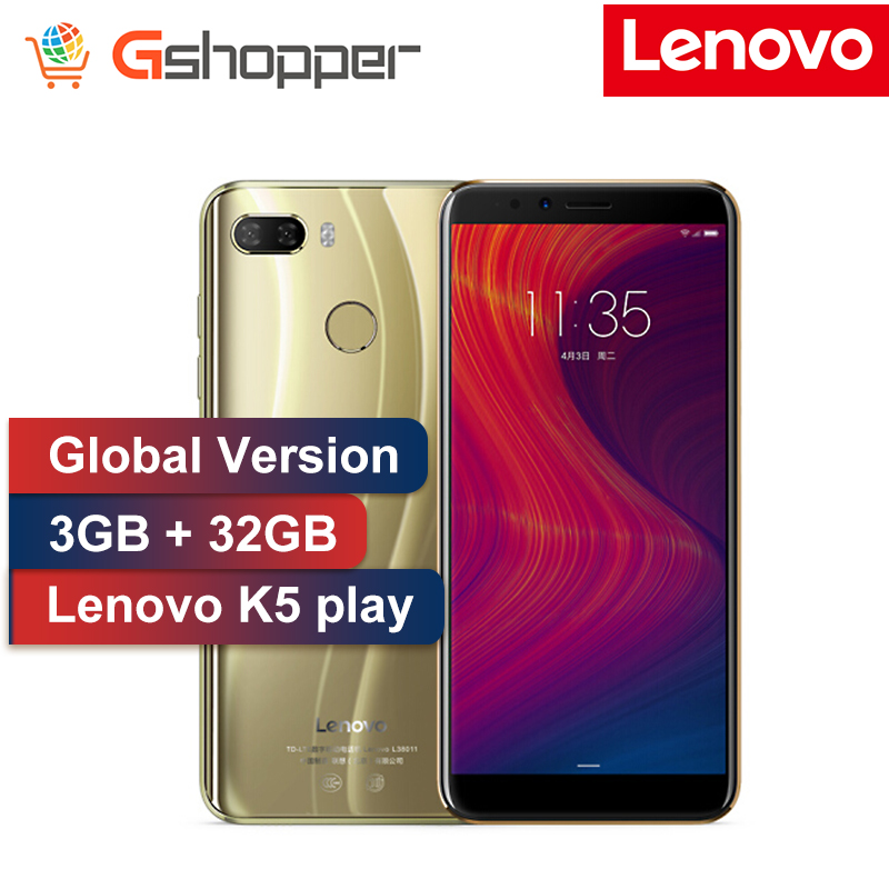 Version mondiale Lenovo K5 Play 3 GB 32 GB Face ID 4G téléphone portable 5.7 pouces Snapdragon MSM8937 Octa Core 13MP + 2MP