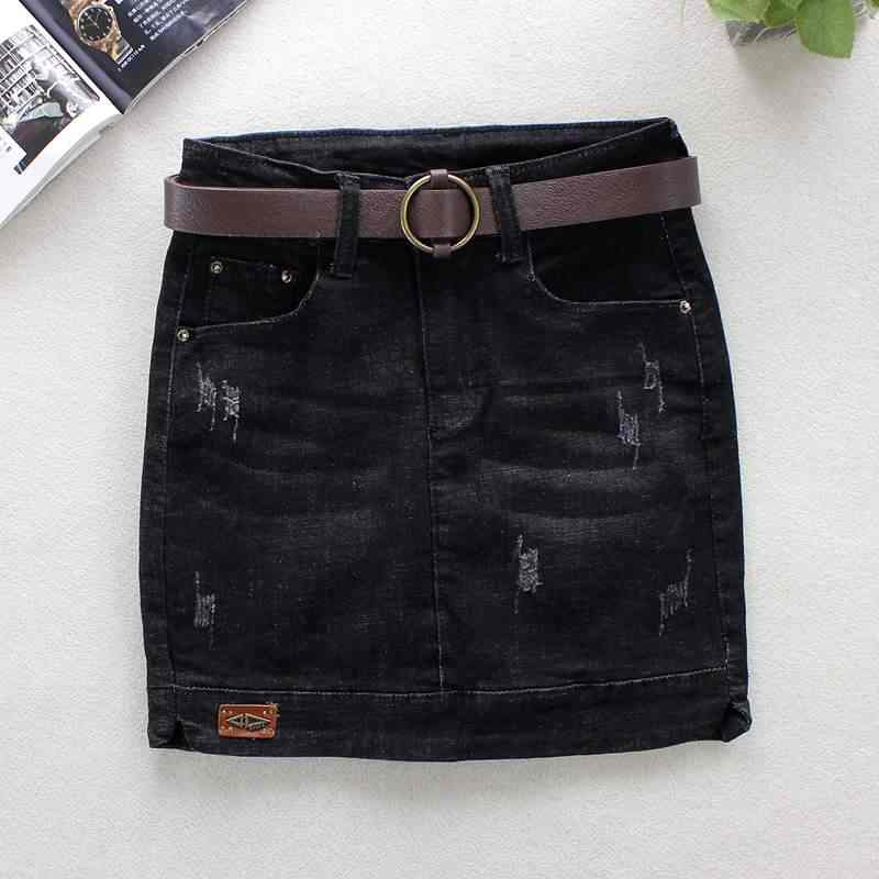 05c6744f1 2019 Summer Black Jeans Skirts Womens Bleached Skinny Pencil Skirts Pattern  100% Cotton Above Knee