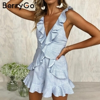 BerryGo Sexy V Neck Lace Up Sexy Jumpsuit Women Elegant Ruffle Backless Short Jumpsuit Romper 2018