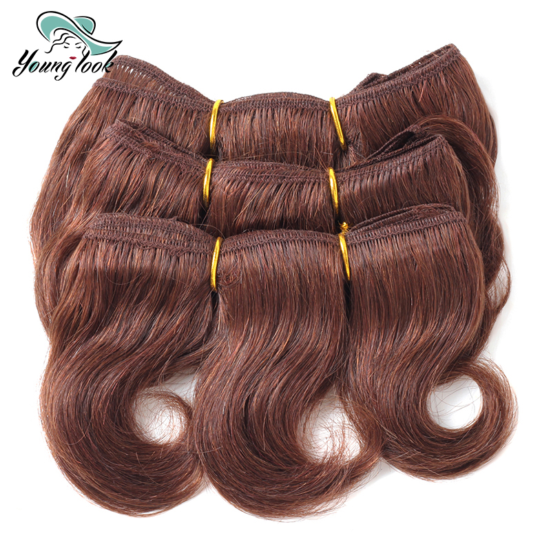 YOUNG LOOK Hair Extension Weave Brazilian Hair Body Wave Bundles Short Hair Styles 3 PCS/Lot 6 Inch #33 Hair Color For women