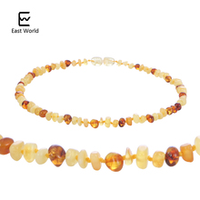 EAST WORLD Honey Amber Teething Necklace for Children Women Fashion Natural Amber Beads Necklace Baby Collar Jewelry Drop Ship