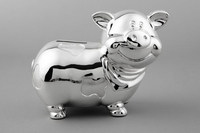 Beautiful Silver Lovely Pig Coin Box Money Bank For Children