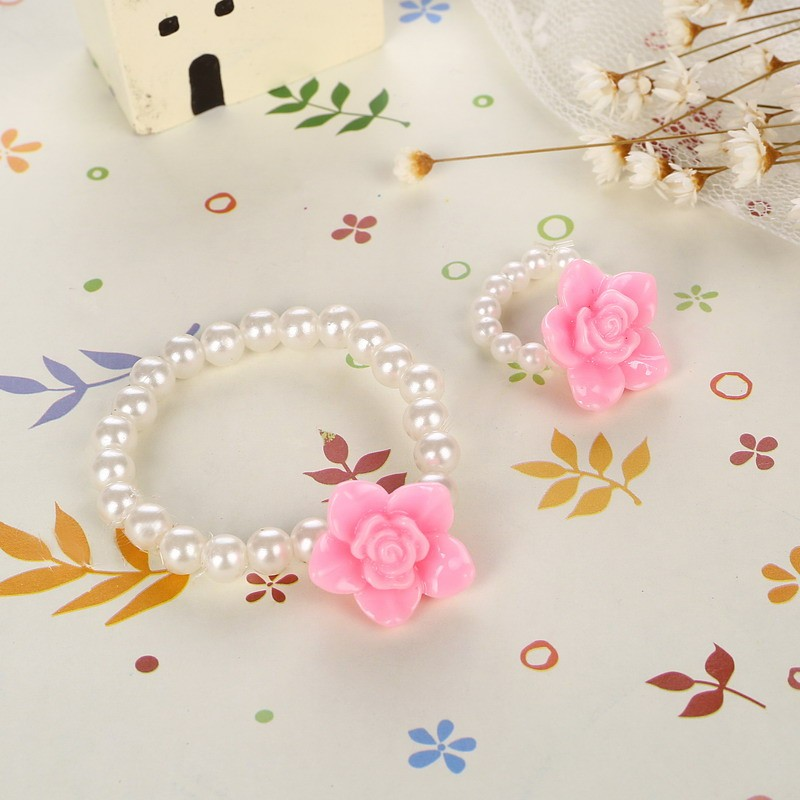 Children Cute Simulated Pearl Chain Pendant Necklace/Ring/Bracelet Rose Flower Charm Bracelet Kids Lovely Jewelry Sets 4