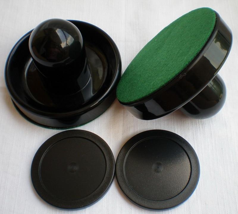 FREE SHIPPING Air Hockey Table BLACK 2PCS 96mm Goalies Mallets Felt Pusher 2PCS 63mm Black Puck