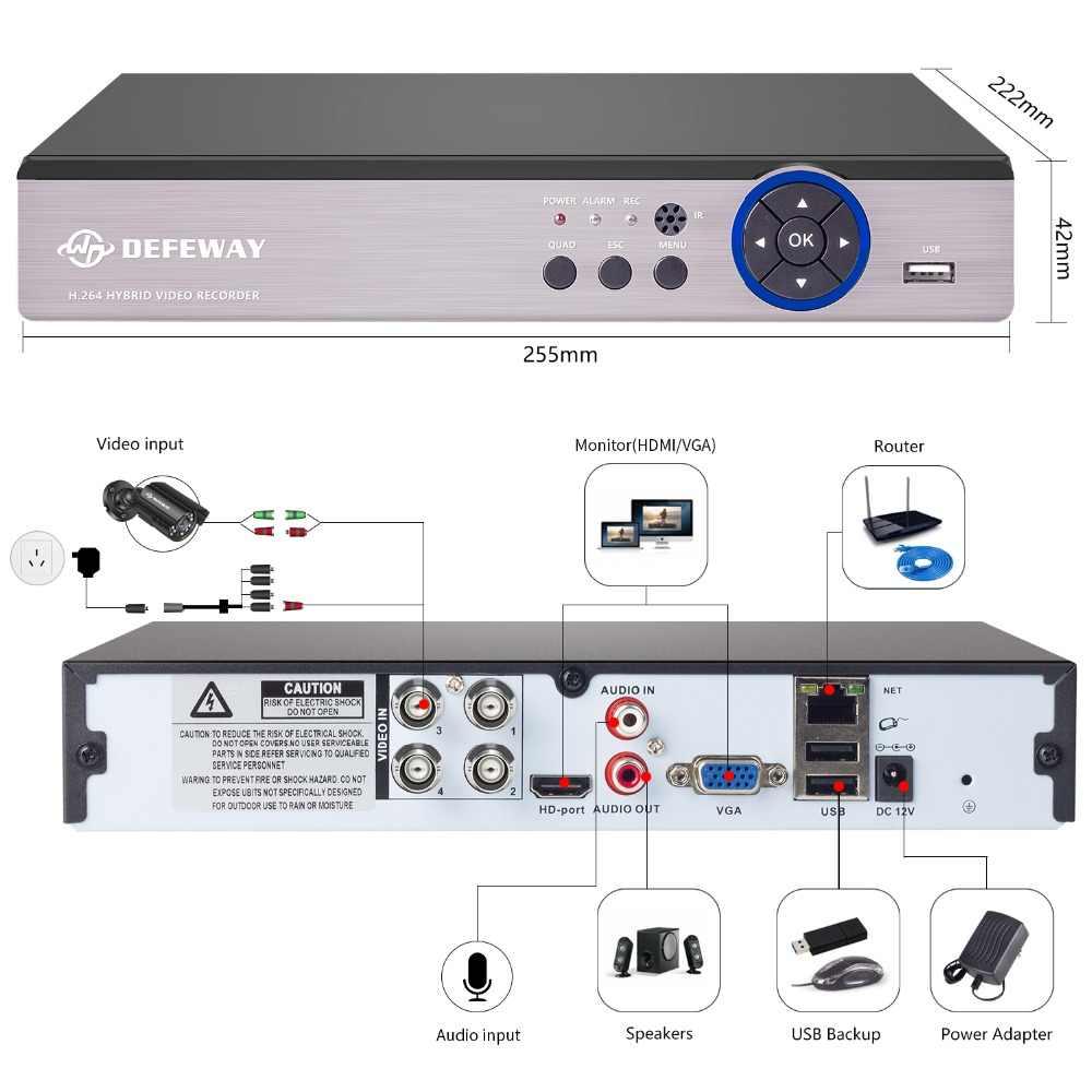 DEFEWAY 1200TVL 720 P HD Outdoor Security Camera System 1 TB Disco Rigido 4CH 1080N DVR CCTV Surveillance Kit AHD fotocamera Impostata