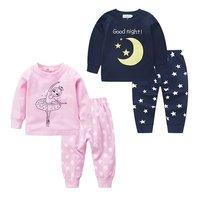 Autumn Winter Children S Cotton Cartoon Embroidery Pajamas Children S Clothing Air Conditioning Service 2PCS