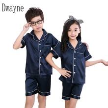 Купить с кэшбэком 3-12 Year Spring Summer Girls Boys Sleepwear Pajamas Clothing Set Kids Nightwear Clothes Children Boy Casual Silk Fabric Pajamas