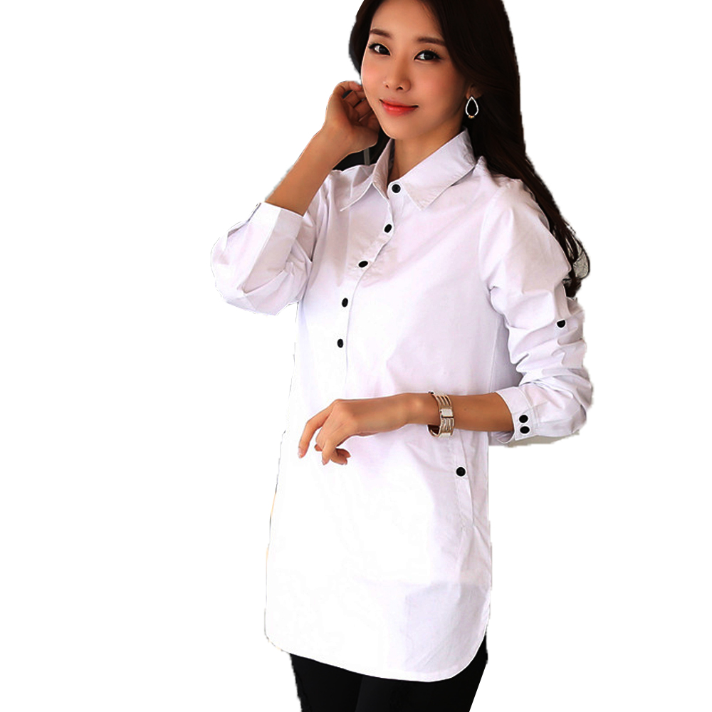 Women long sleeve blouse shirt elegant blusa feminina Cotton women fashion white shirt women plus size