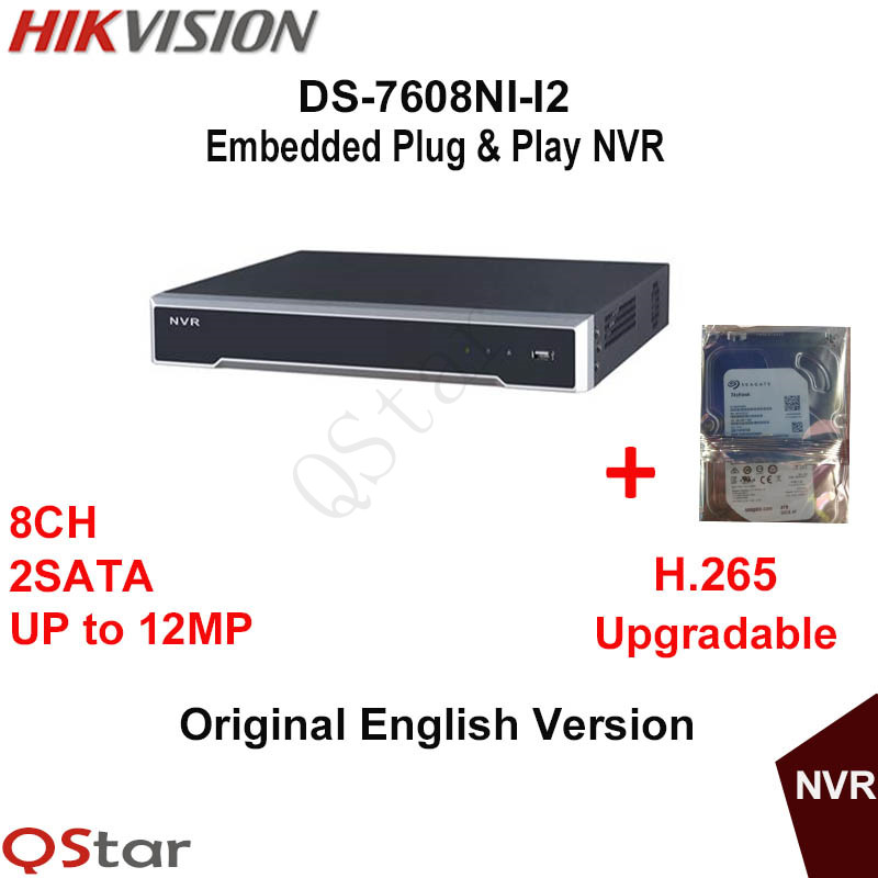 Hikvision Original English NVR DS-7608NI-I2 8ch Onvif NVR Up to 12MP 4K NVR 2SATA with IP Camera H.265 Build-in HDD 1/2/3/4T